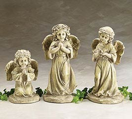 NATURAL RESIN GARDEN CHERUB FIGURINE SET