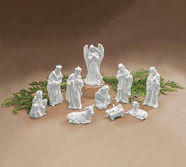 10 PIECE WHITE PORCELAIN NATIVITY