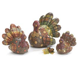 HAND PAINTED RESIN WHIMSICAL TURKEY SET