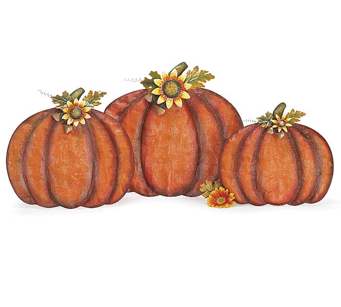 EASEL BACK MESH PUMPKIN W/ SUNFLOWERS