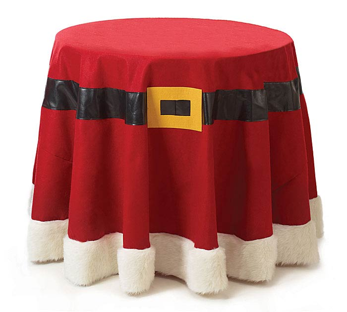 SANTA BELT WITH FUR ROUND TABLECLOTH
