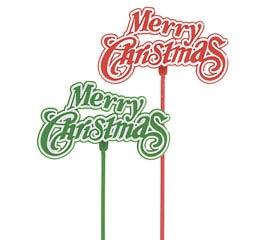 "11"" PLASTIC MERRY CHRISTMAS PICK SET"