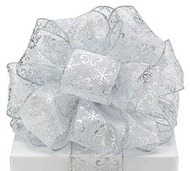 #40 SILVER SNOWFLAKE SHEER WIRED RIBBON