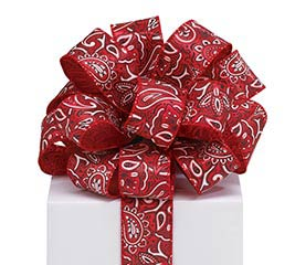 #9 RED BANDANNA WIRED RIBBON