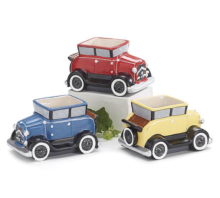 ANTIQUE CARS CERAMIC PLANTER SET