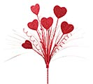 "19"" RED GLITTER HEART SPRAY PICK"