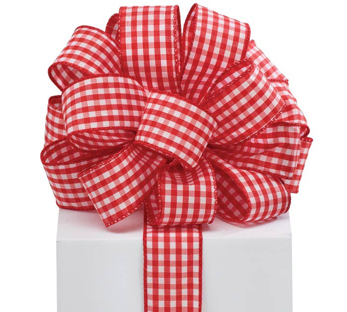 #9 RED GINGHAM WIRED RIBBON
