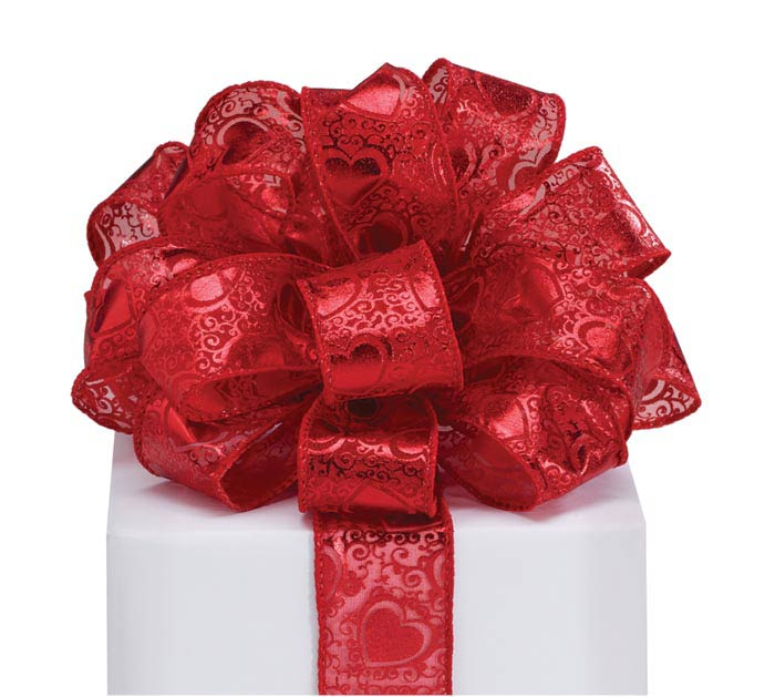 #9 RED FOIL HEARTS SHEER WIRED RIBBON