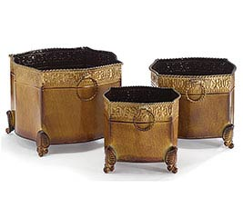 ORNATE TIN NESTED PLANTER SET