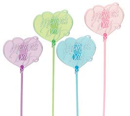 HAPPY MOTHER'S DAY HEART PLASTIC PICK SE