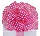 #9 PINK DOTS WIRED SHEER RIBBON