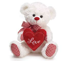 PLUSH WHITE/RED GINGHAM LOVE BEAR