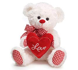 WHITE PLUSH BEAR WITH RED CHECKED ACCENT