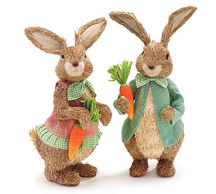Sisal Easter Bunny Couple Set