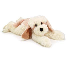 PLUSH CREAM AND LIGHT BROWN LYING PUPPY
