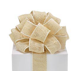 #16 CREAM BURLAP WIRED RIBBON