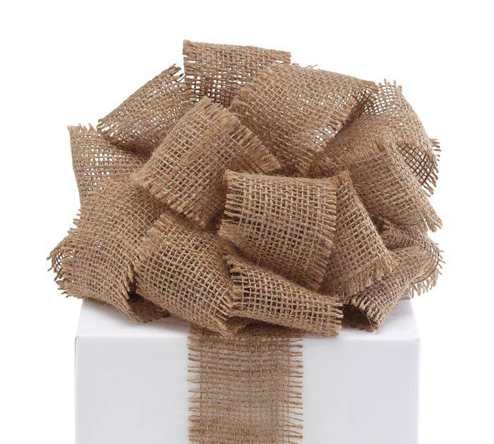 #40 NATURAL BURLAP FRINGE EDGE RIBBON