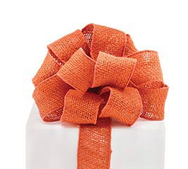 #16 BURNT ORANGE BURLAP WIRED RIBBON