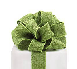 #16 MOSS GREEN BURLAP WIRED RIBBON