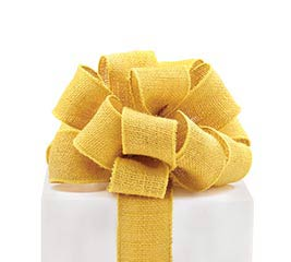 #16 MUSTARD YELLOW BURLAP WIRED RIBBON