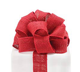 #16 CRIMSON RED BURLAP WIRED RIBBON