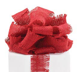 RIBBON #40 CRIMSON RED BURLAP
