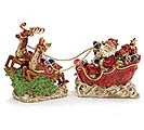 2 PIECE PORCELAIN SANTA IN SLEIGH SET