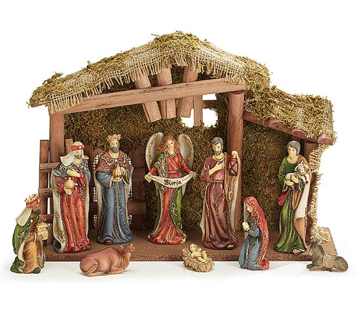 COLORFUL RESIN FIGURINES IN CRECHE