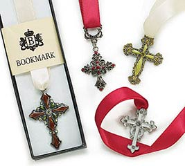 JEWELED CROSSES BOOKMARK SET