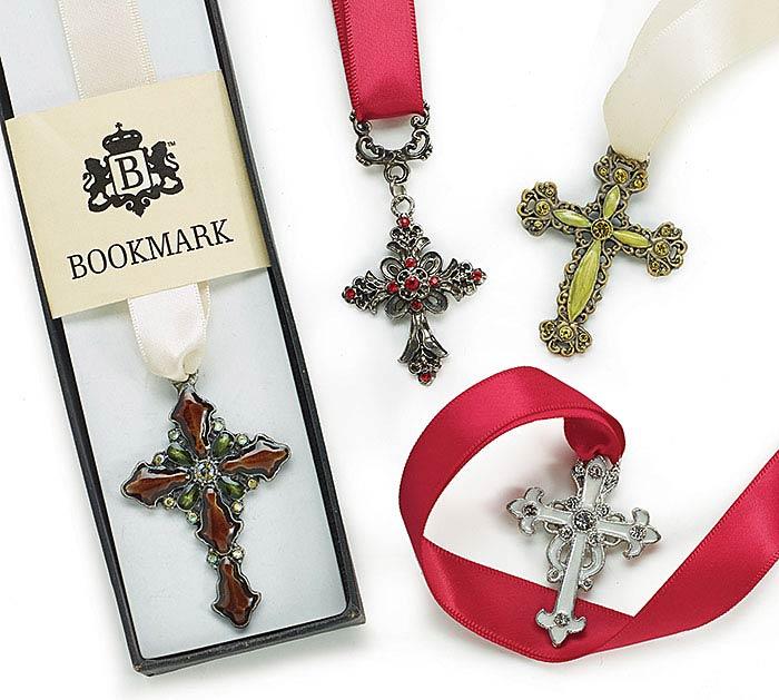 JEWELED CROSSES BOOKMARK SET