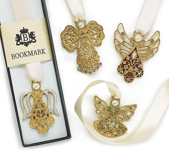 GOLD ANGEL AND RIBBON BOOKMARK SET