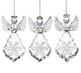 EMBOSSED GLASS ANGEL ORNAMENT SET
