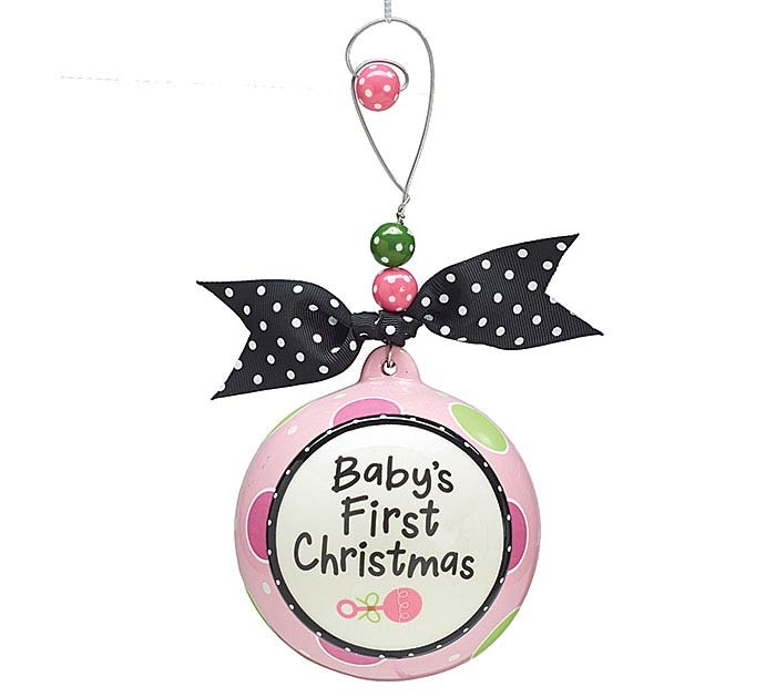 ORNAMENT PINK BABY 1ST CHRISTMAS