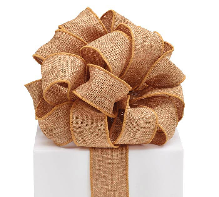 #9 BROWN BURLAP WIRED RIBBON