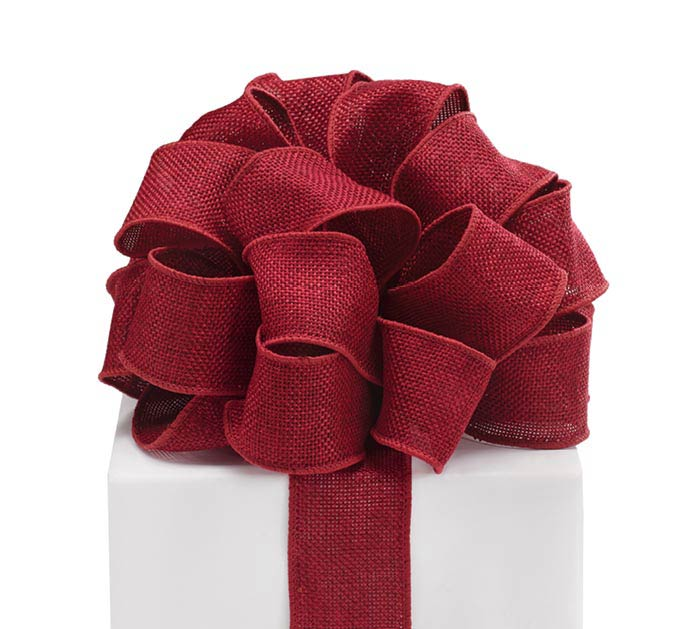 #9 BRICK RED BURLAP WIRED RIBBON