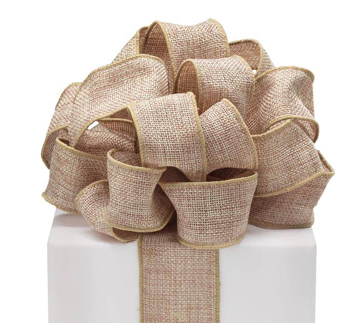 #40 NATURAL BURLAP WIRED RIBBON