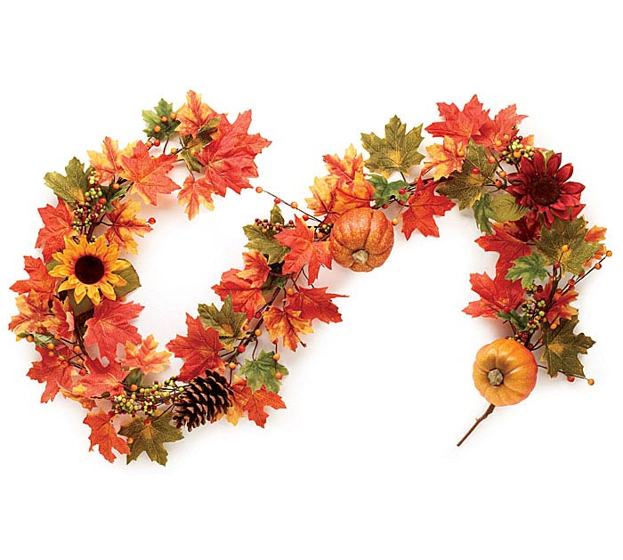 "65"" FALL LEAVES AND PUMPKINS GARLAND"