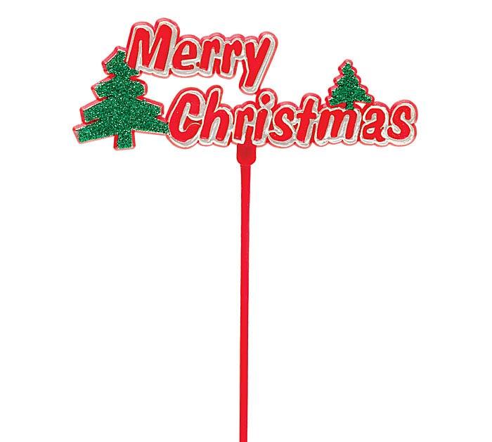 "11"" PLASTIC MERRY CHRISTMAS PICK"