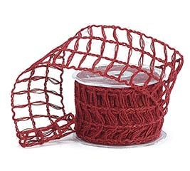 #40 CRIMSON RED LATTICE JUTE RIBBON