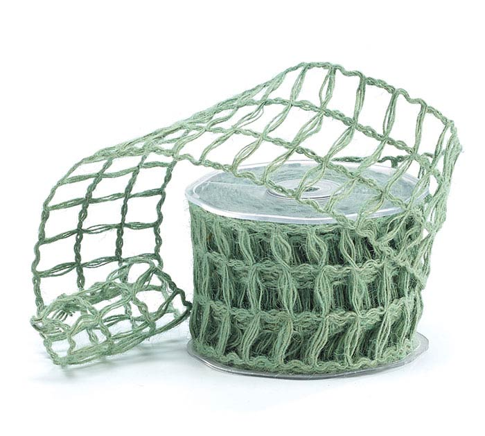 #40 MOSS GREEN LATTICE JUTE RIBBON