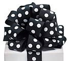 #9 BLACK/WHITE DOT WIRED GROSGRAIN RIBBO