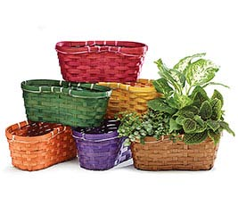 PEANUT SHAPED BAMBOO BASKET ASST COLORS