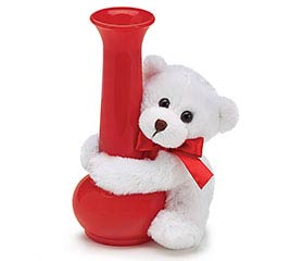 WHITE BEAR VASE HUGGER