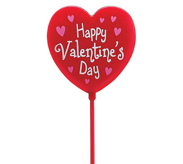 "11.75"" PLASTIC RED HEART VALENTINE PICK"