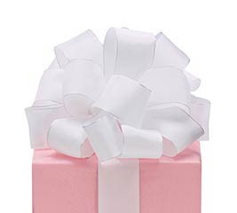 #9 WHITE TAFFETA WIRED RIBBON