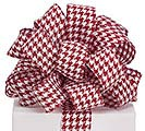 #9 RED HOUNDSTOOTH WIRED RIBBON