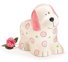 PINK CERAMIC PUPPY PLANTER