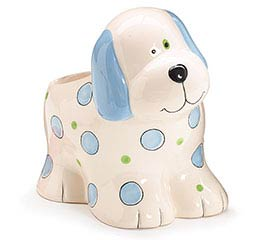 BLUE CERAMIC PUPPY PLANTER