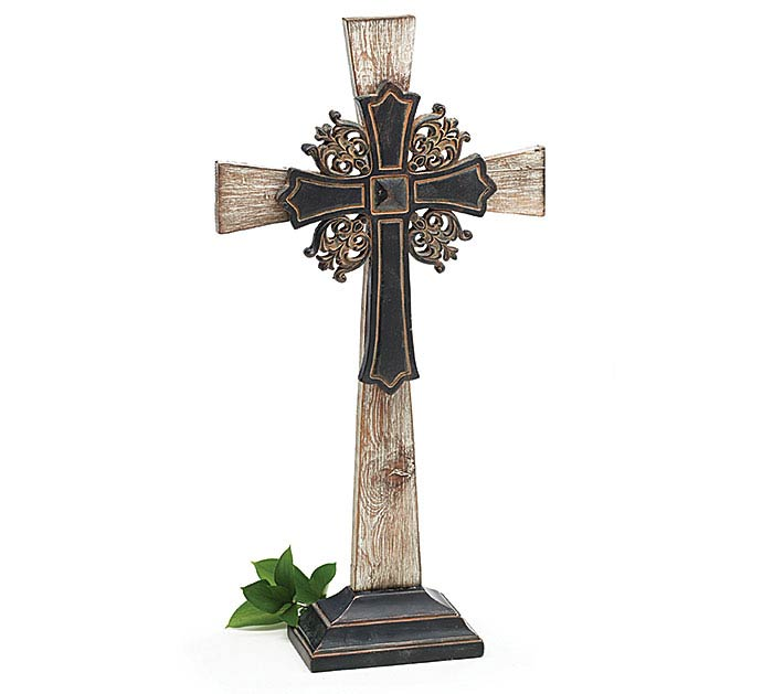 RUSTIC WOOD CROSS SHELF SITTER
