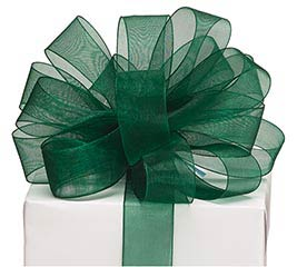 #9 DARK GREEN SHEER RIBBON